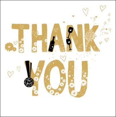 Thank You Gold Glitter Greeting Card