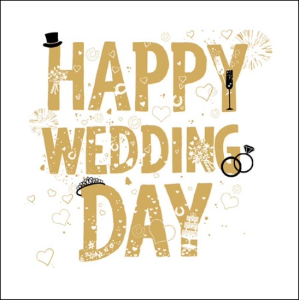 Happy wedding day gold glitter greeting card cards love kates happy wedding day gold glitter greeting card m4hsunfo