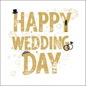 Happy Wedding Day Gold Glitter Greeting Card