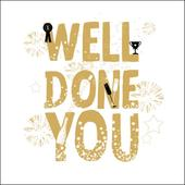 Well Done You Gold Glitter Greeting Card