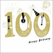 100th Happy Birthday Gold Glitter Greeting Card