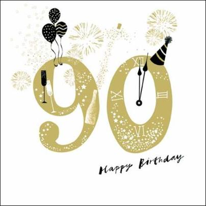 90th Happy Birthday Gold Glitter Greeting Card
