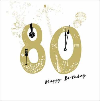 80th Happy Birthday Gold Glitter Greeting Card