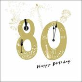 80th Happy Birthday Gold Glitter Greeting Card
