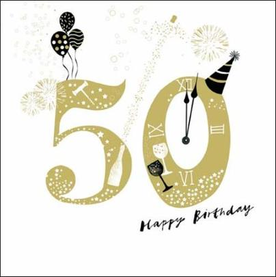 50th Happy Birthday Gold Glitter Greeting Card