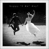Happy I Do Black & White Photo Art Wedding Day Greeting Card