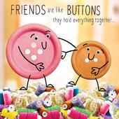 Friends Like Buttons Googlies Birthday Card