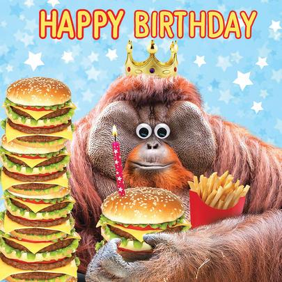 Cheesburger King Googlies Birthday Card