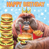 Cheesburger King Googlies Birthday Card