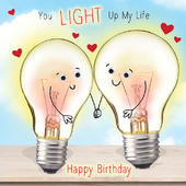 Light Up My Life Googlies Birthday Card
