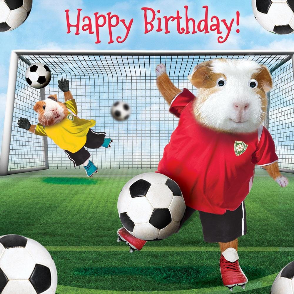 Открытка с футбольным мячом на день рождения, поздравления днем