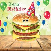 Happy Birthday Burger Googlies Birthday Card