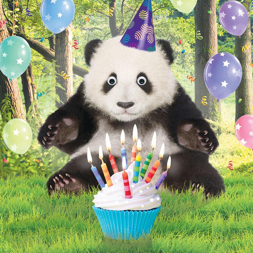 Юбилеем, открытка с днем рождения с пандами