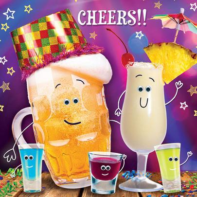 Club Tropicana Cheers Googlies Birthday Card