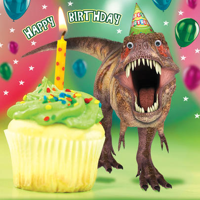 Jurassic Cake Dinosaur Googlies Birthday Card