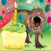 Jurassic Cake Dinosaur Googlies Birthday Card