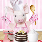Piggy Bakes A Cake Googlies Birthday Card