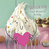 Cream Whisk Googlies Birthday Card