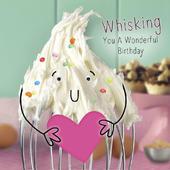 Cream Whisk Googlies Birthday Card