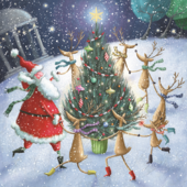 Pack of 8 Dancing Santa British Heart Foundation Charity Christmas Cards