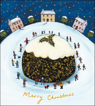 Pack of 5 Christmas Pudding Shelter & Crisis Charity Christmas Cards