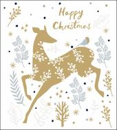 Pack of 5 Gold Reindeer Shelter & Crisis Charity Christmas Cards