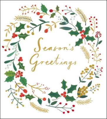Pack of 5 Holly Wreath Samaritans Charity Christmas Cards