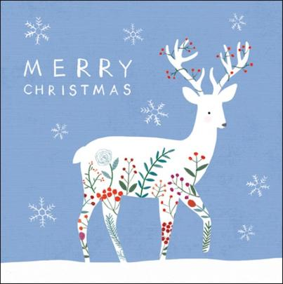 Pack of 5 Reindeer Action For Children Charity Christmas Cards