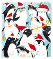 Pack of 5 Festive Penguins Action For Children Charity Christmas Cards