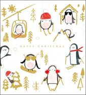 Pack of 5 Skiing Penguins RNLI Lifeboats Charity Christmas Cards