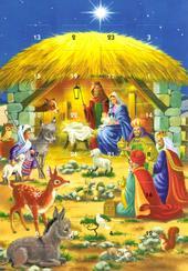 Nativity Scene Advent Calendar Christmas Greeting Card