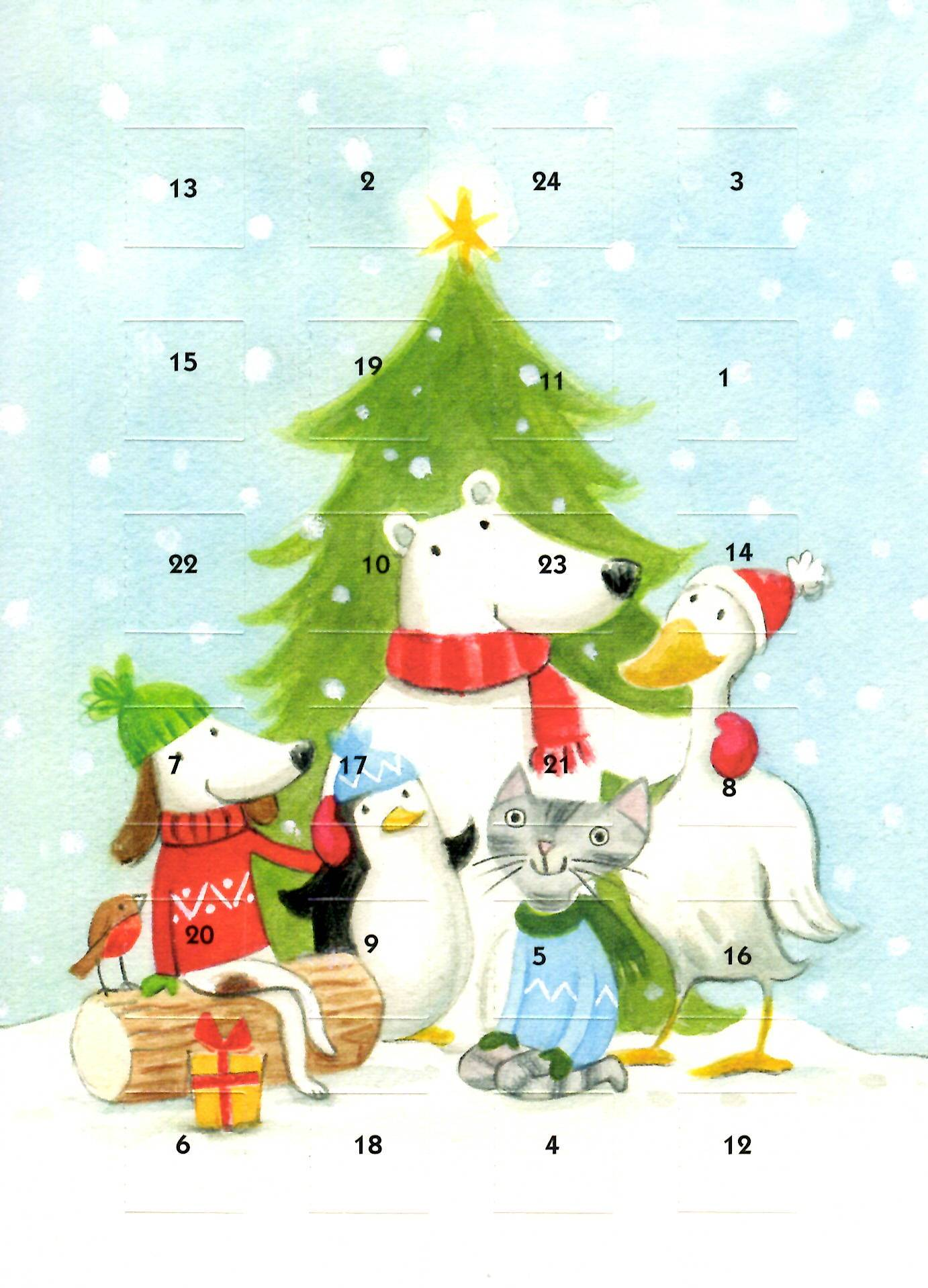 Festive Friends Advent Calendar Christmas Greeting Card Cards