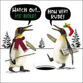 Ice Hole! Funny Crackerjack Christmas Card