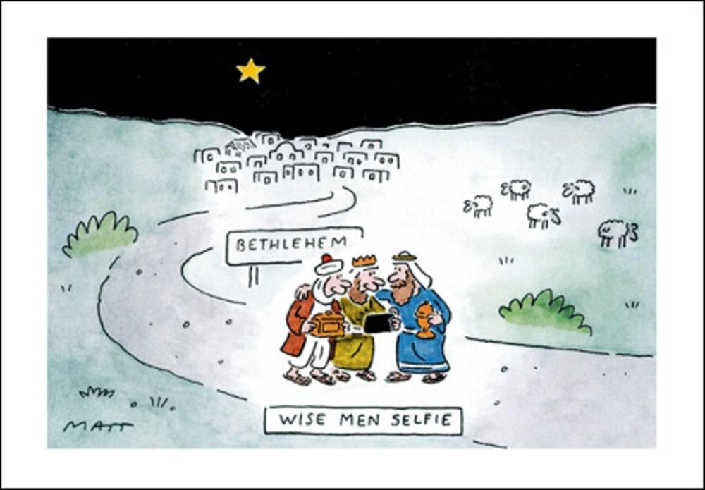 Telegraph Matt Wise Men Selfie Christmas Greeting Card