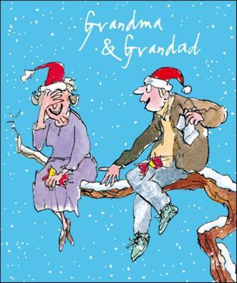 Grandma & Grandad Quentin Blake Christmas Greeting Card
