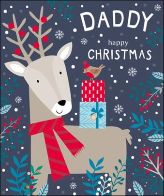 Daddy Cute Tiger Tail Christmas Greeting Card