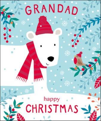 Grandad Cute Tiger Tail Christmas Greeting Card