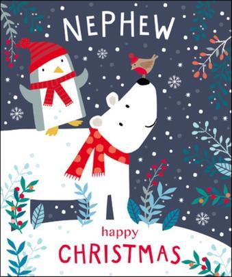 Nephew Cute Tiger Tail Christmas Greeting Card