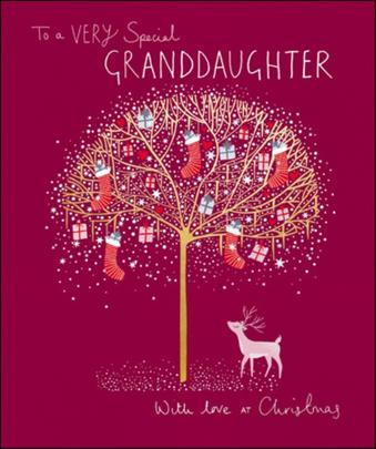 Special Granddaughter Peach & Prosecco Christmas Greeting Card