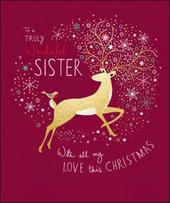 Wonderful Sister Peach & Prosecco Christmas Greeting Card
