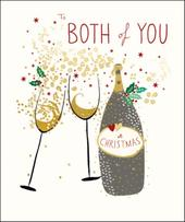 To Both Of You Peach & Prosecco Christmas Greeting Card
