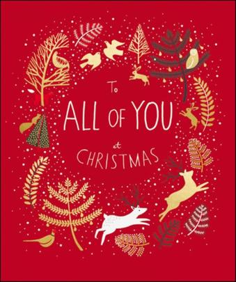 To All Of You Peach & Prosecco Christmas Greeting Card