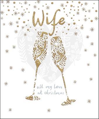 Wife Gold Glitter Emma Grant Christmas Greeting Card