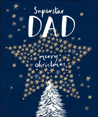 Dad Gold Glitter Emma Grant Christmas Greeting Card