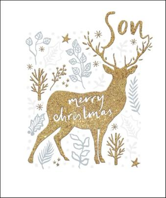 Son Gold Glitter Emma Grant Christmas Greeting Card