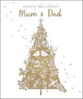 Mum & Dad Gold Glitter Emma Grant Christmas Greeting Card