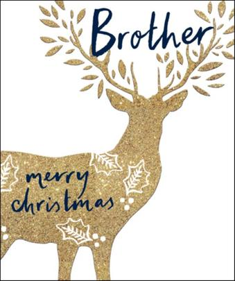 Brother Gold Glitter Emma Grant Christmas Greeting Card