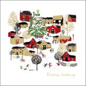 Christmas Village Festive Greetings Christmas Greeting Card