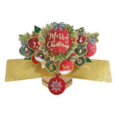Merry Christmas Baubles Pop-Up Greeting Card