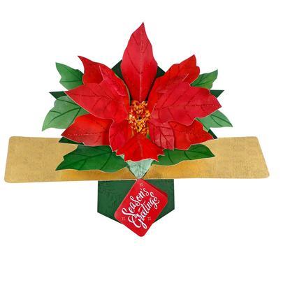 Poinsettia Seasons Greetings Pop-Up Greeting Card